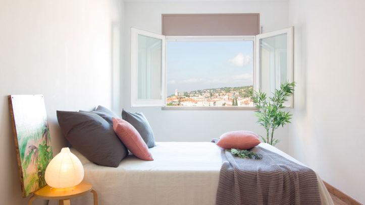 dormitorio rosa y gris